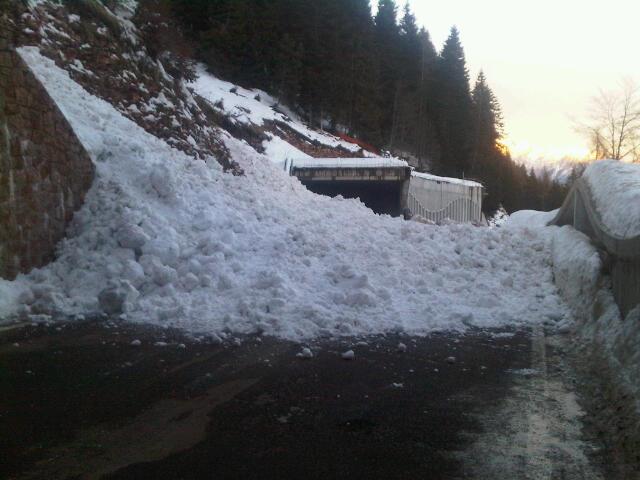 Ecco la massa di neve sulla strada. La slavina si è staccata mercoledi 30 gennaio dopo l'innalzamento della temperatura. Come si può vedere nella foto, la massa nevosa si trova esattamente tra le due gallerie appena prima del passo Brocon