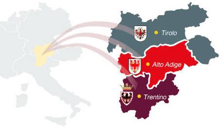 Schema Euregio, con Trentino, Alto Adige e Tirolo