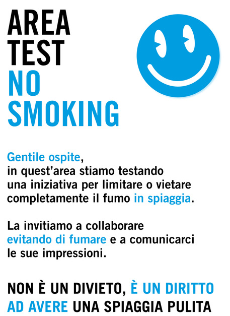 FUMO: PARTE AREA TEST 'NO SMOKING' IN SPIAGGIA A BIBIONE