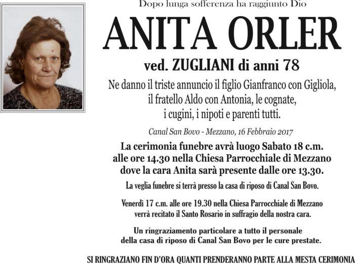 Addio ad Anita Orler vedova Zugliani, funerali sabato 18 febbraio alle 14.30 a Mezzano