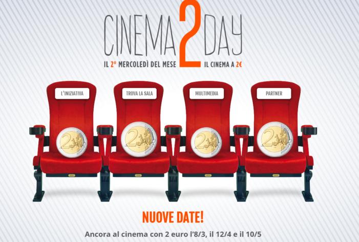 Torna Cinema2day: 8 marzo, 12 aprile e 10 maggio in sala a 2 euro