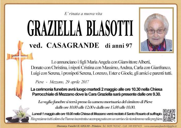 Addio a Graziella Blasotti vedova Casagrande, funerali martedì 2 maggio alle 10.30 nella Chiesa di Mezzano