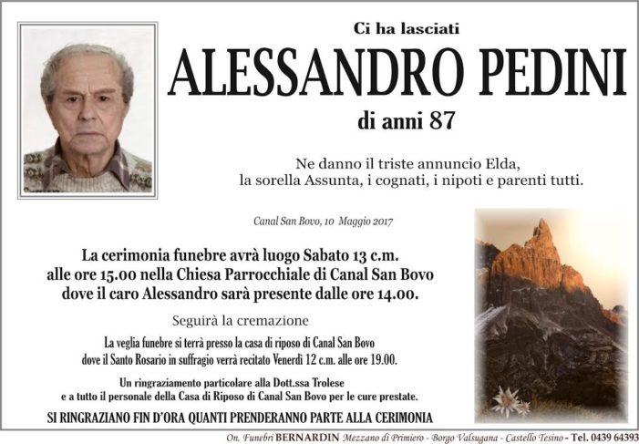 Addio Alessandro Pedini, funerali sabato 13 maggio alle 15 a Canal San Bovo