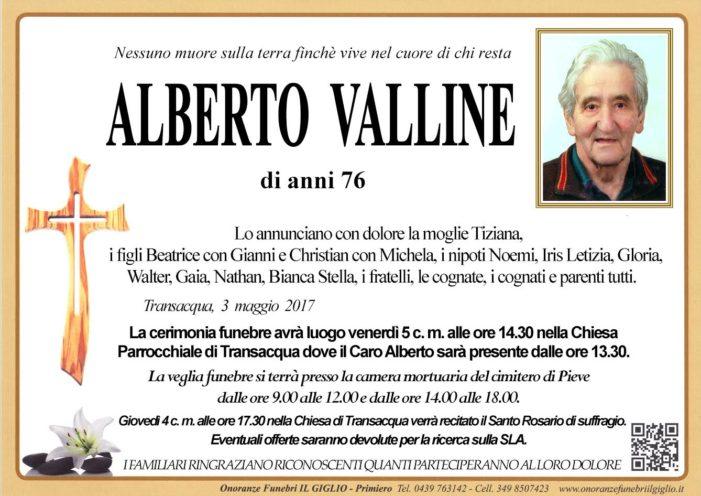 Addio Alberto Valline, funerali venerdì 5 maggio alle 14.30 nella Chiesa di Transacqua
