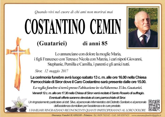 Addio a Costantino Cemin, funerali sabato 13 maggio alle 16 a Siror