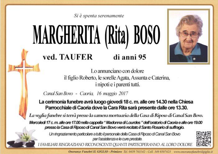 Addio Margherita (Rita) Boso vedova Taufer, funerali a Caoria giovedì 18 maggio alle 14.30