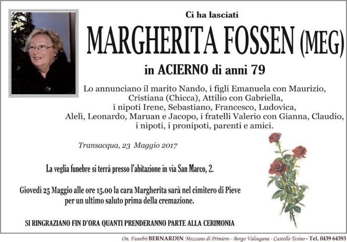 Addio a Margherita Fossen (MEG) in Acierno
