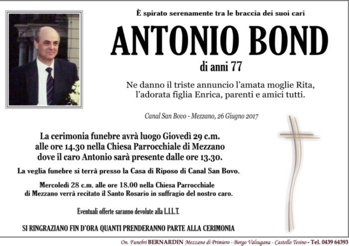 Addio ad Antonio Bond, ex sindaco di Mezzano. Funerali giovedì 29 giugno alle 14.30 a Mezzano