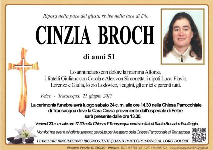 Primiero si stringe alla famiglia di Cinzia Broch, funerali sabato 24 giugno alle 14.30 nella Chiesa di Transacqua