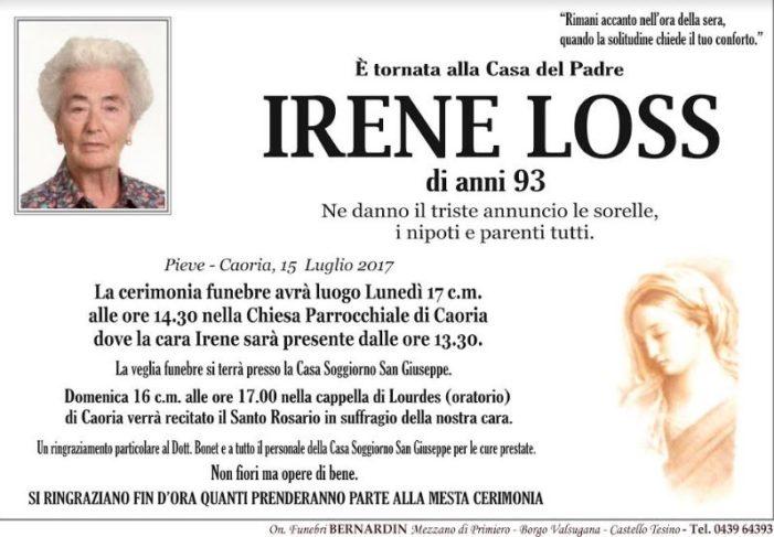 Addio ad Irene Loss, funerali a Caoria lunedì 17 luglio alle 14.30