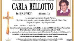 Addio a Carla Bellotto in Brunet, funerali martedì 25 luglio alle 14.30 a Tonadico
