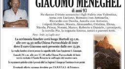 Addio Giacomo Meneghel, l'ultimo saluto martedì 25 luglio alle 14.30 a Imèr
