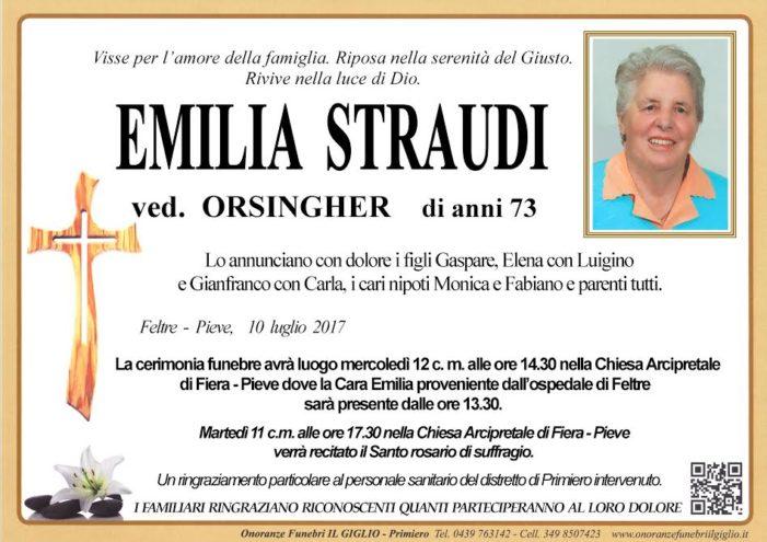 Addio Emilia Straudi vedova Orsingher, funerali mercoledì 12 luglio nella Chiesa Arcipretale di Fiera Pieve