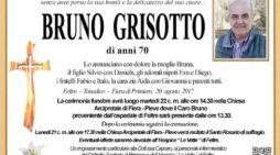 Addio a Bruno Grisotto, funerali martedì 22 agosto alle 14.30 nella Chiesa di Fiera – Pieve