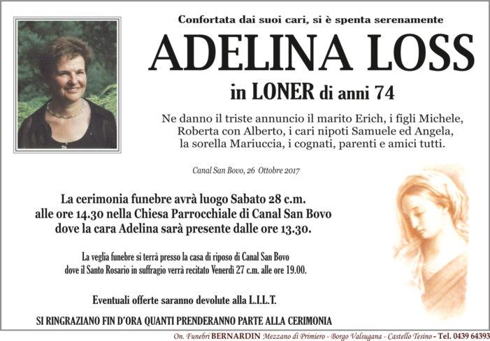 Addio ad Adelina Loss in Loner, funerali sabato 28 ottobre alle 14.30 a Canal San Bovo