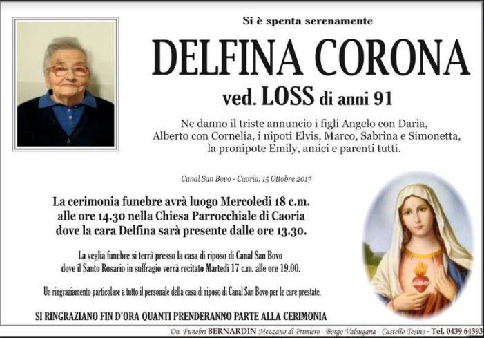 Addio a Delfina Corona vedova Loss, funerali mercoledì 18 ottobre alle 14.30 a Caoria