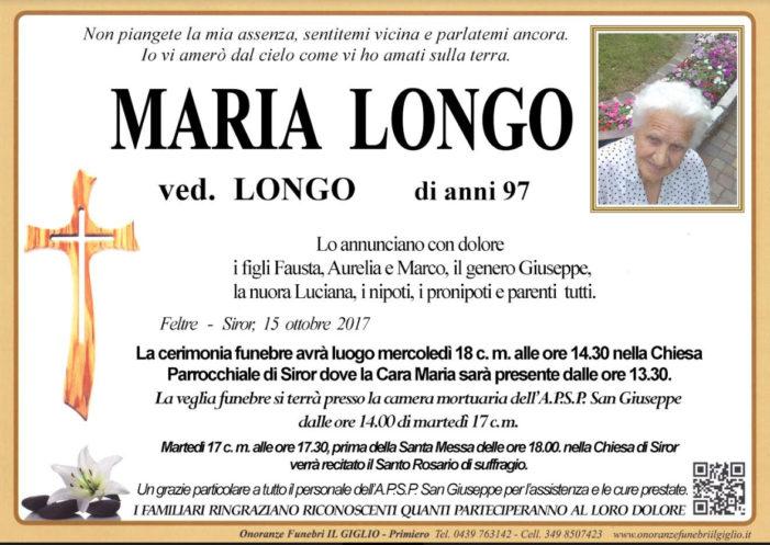 Addio a Maria Longo vedova Longo, funerali mercoledì 18 ottobre alle 14.30 a Siror