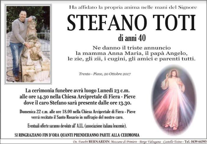 Addio a Stefano Toti, la comunità si stringe alla famiglia per la grave perdita: funerali lunedì 23 ottobre alle 14.30 nella Chiesa di Fiera – Pieve
