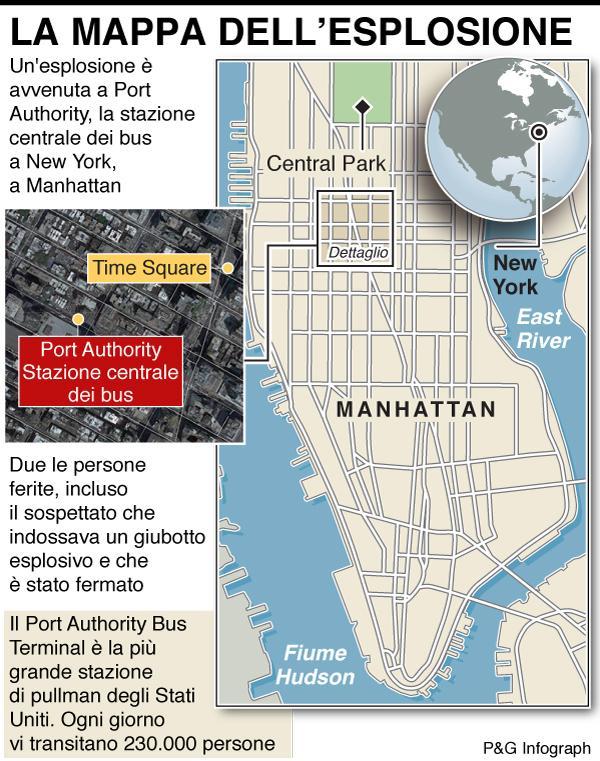 New York, esplosione in stazione bus Manhattan