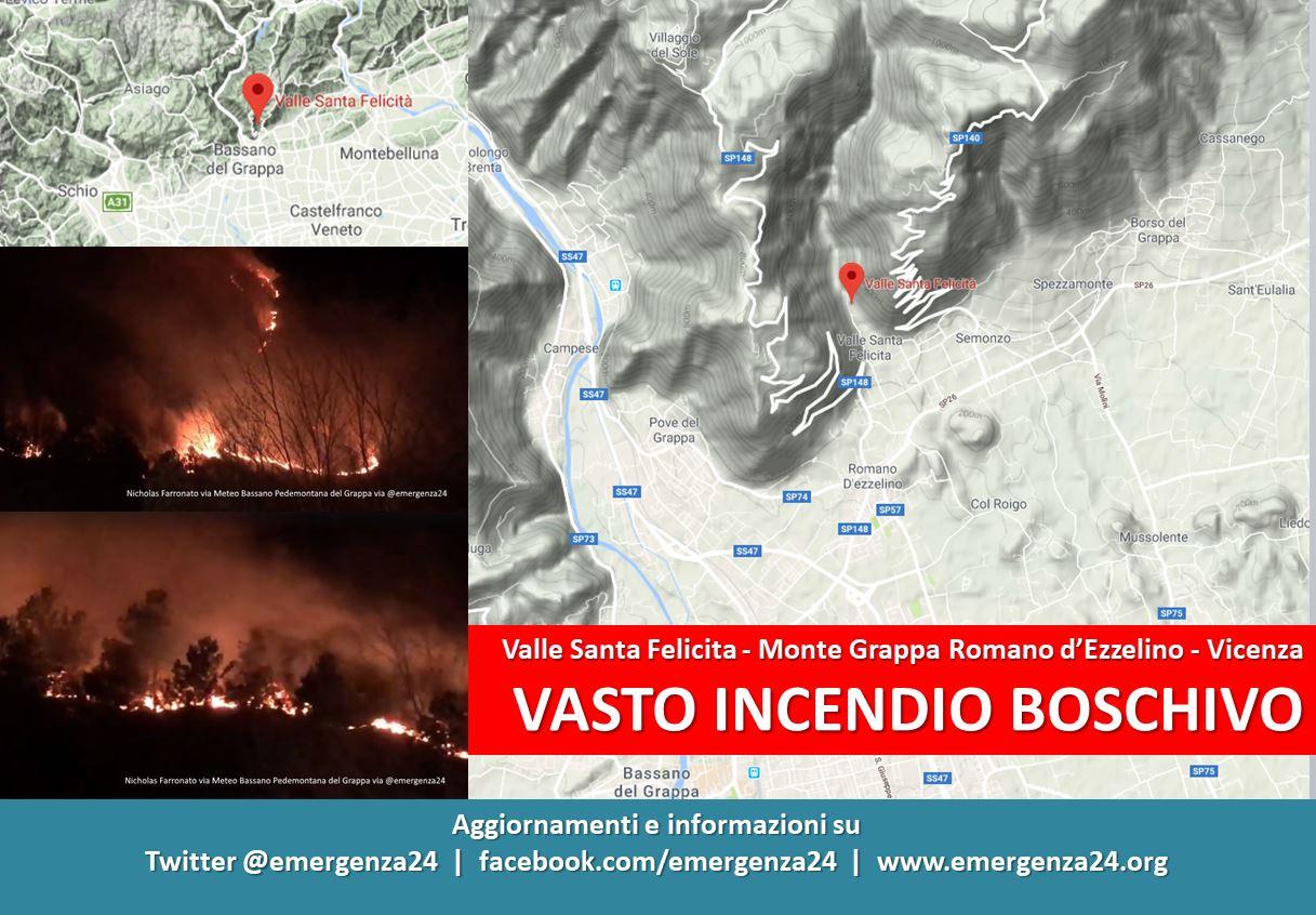Inferno sul Grappa, devastante incendio divampato nella notte