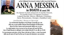 Addio Anna Messina in Boato, funerali venerdì 23 marzo alle 14.30 a Mezzano