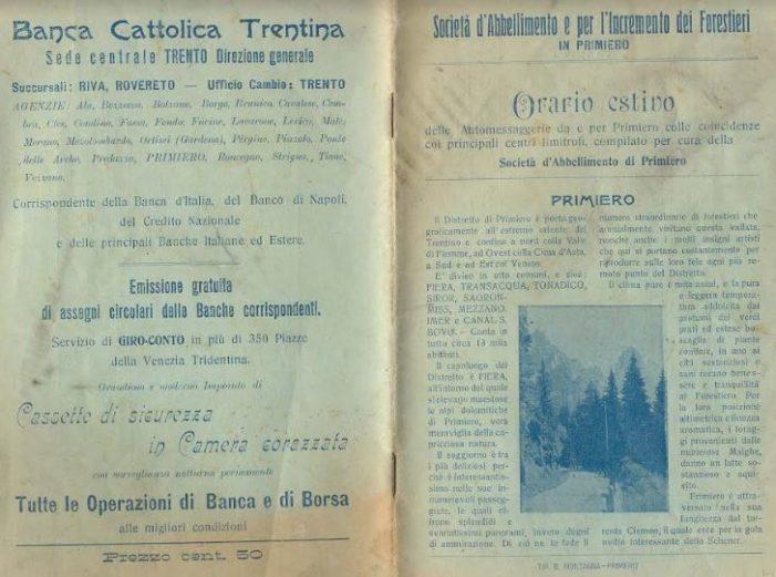 """Dolomiti, a Primiero correva l'anno 1905: nasceva la """"Società di Abbellimento e per l'incremento dei forestieri"""""""