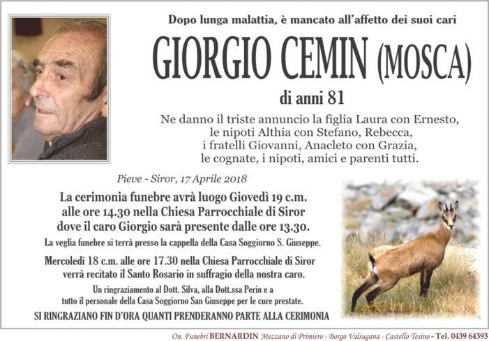 Addio a Giorgio Cemin (Mosca), funerali giovedì 19 aprile alle 14.30 a Siror