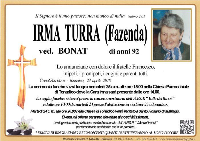 Addio a Irma Turra (Fazenda) vedova Bonat, funerali mercoledì 25 aprile alle 15 a Tonadico