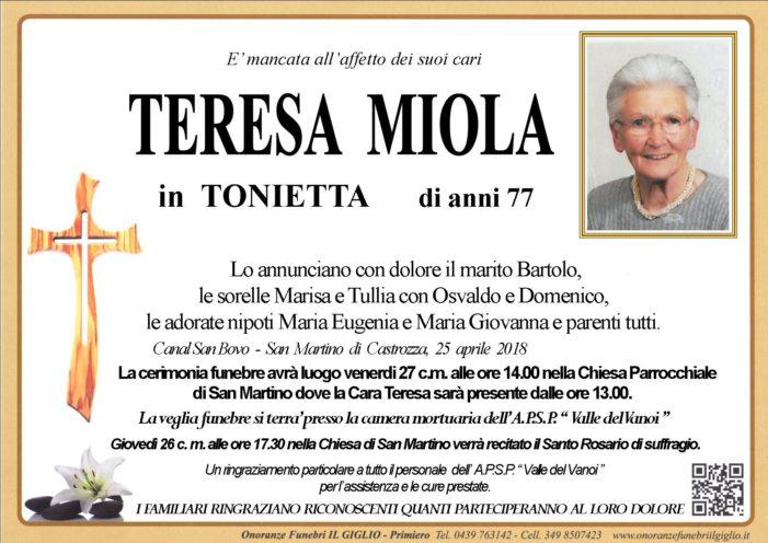 Addio Teresa Miola in Tonietta, funerali venerdì 27 aprile alle 14 a San Martino di Castrozza