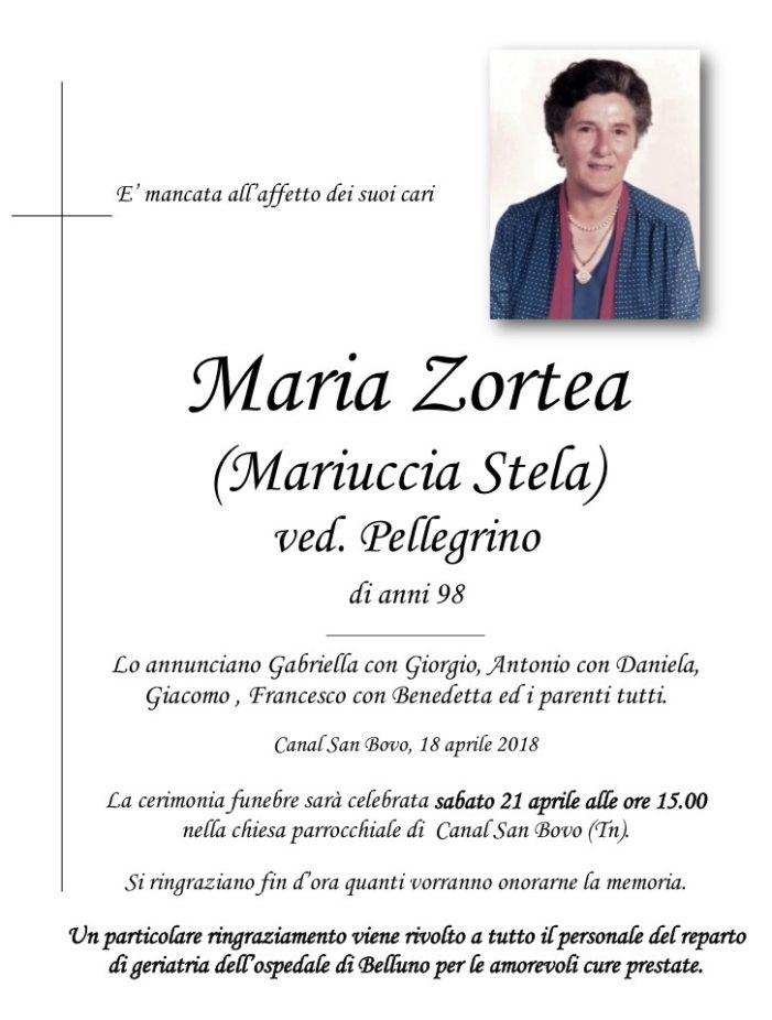 Addio a Maria Zortea (Mariuccia Stela) vedova Pellegrino, funerali sabato 21 aprile alle 15 a Canal San Bovo