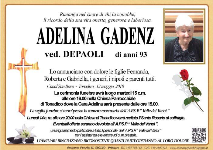 Addio Adelina Gadenz vedova Depaoli, funerali martedì 15 maggio alle 16 a Tonadico