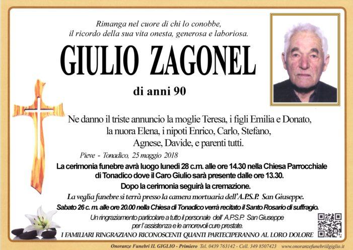 Addio a Giulio Zagonel, funerali lunedì 28 maggio alle 14.30 a Tonadico