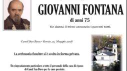 Addio nel Vanoi a Giovanni Fontana, la cerimonia funebre si è svolta in forma privata