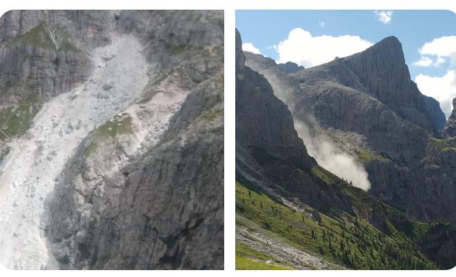 """Pale di San Martino, dopo il crollo sotto il """"Dente del Cimone"""" il sentiero per la Rosetta resta aperto"""