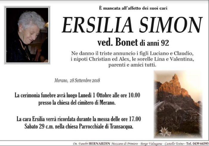Addio Ersilia Simon vedova Bonet, funerali lunedì 1 ottobre alle 10 a Transacqua