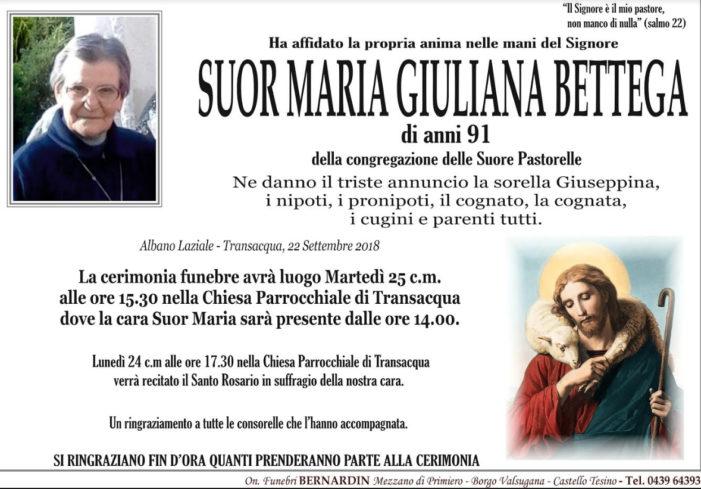 Addio a Suor Maria Giuliana Bettega, funerali martedì 25 settembre alle 15.30 nella Chiesa di Transacqua