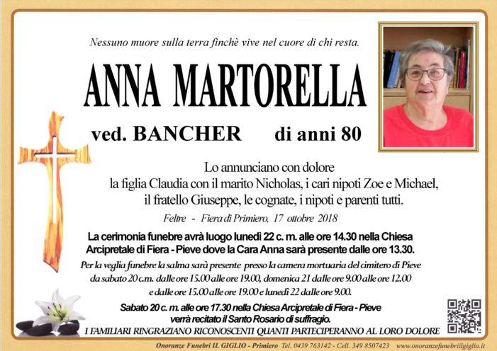 Addio Anna Martorella vedova Bancher, funerali lunedì 22 ottobre nella chiesa di Fiera-Pieve