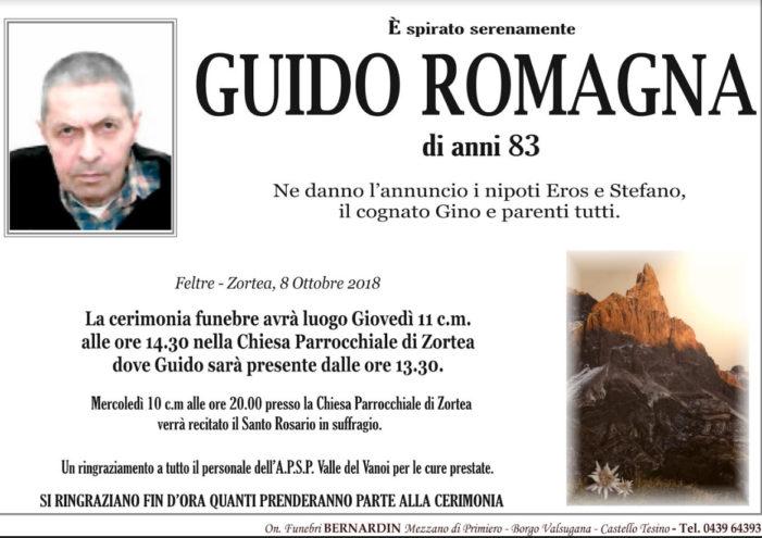 Addio a Guido Romagna, funerali giovedì 11 ottobre alle 14.30 nella chiesa di Zortea