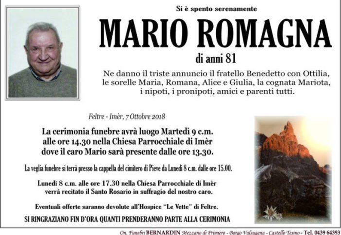 Addio a Mario Romagna, funerali martedì 9 ottobre alle 14.30 a Imèr