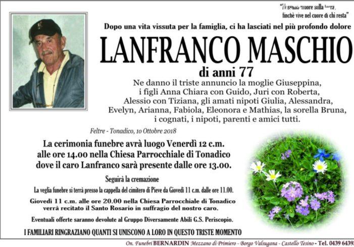 Addio a Lanfranco Maschio, funerali venerdì 12 ottobre a Tonadico