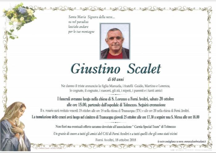 Addio a Giustino Scalet, funerali sabato 20 ottobre a Forni Avoltri (Udine). Tumulazione a Transacqua giovedì 25 ottobre alle 17.30, seguirà santa messa