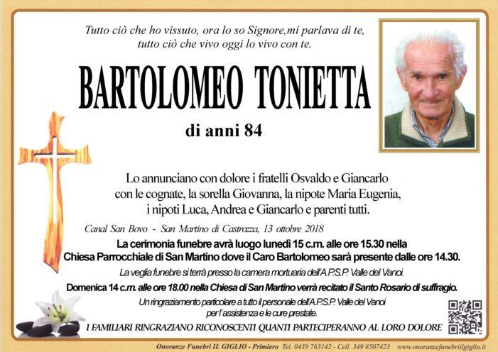 Addio a Bartolomeo Tonietta, funerali lunedì 15 ottobre alle 15.30 a San Martino di Castrozza