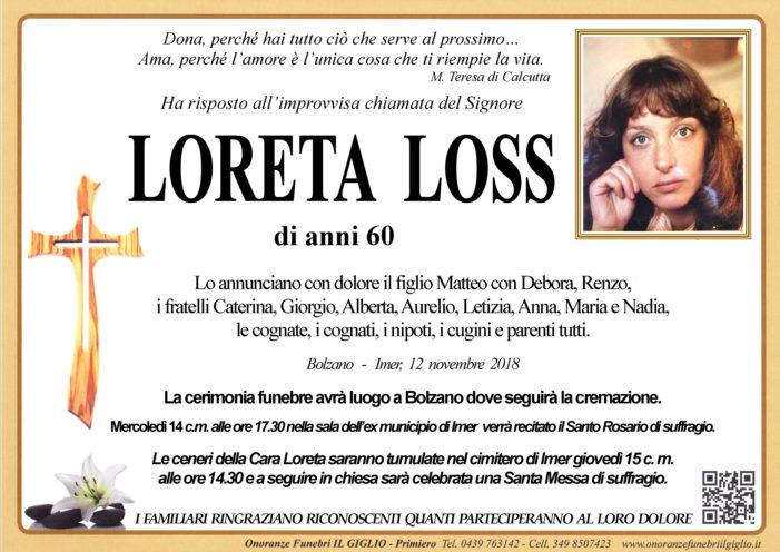 Addio a Loreta Loss, funerali a Bolzano. Santa messa di suffragio mercoledì 14 novembre alle 17.30 a Imèr