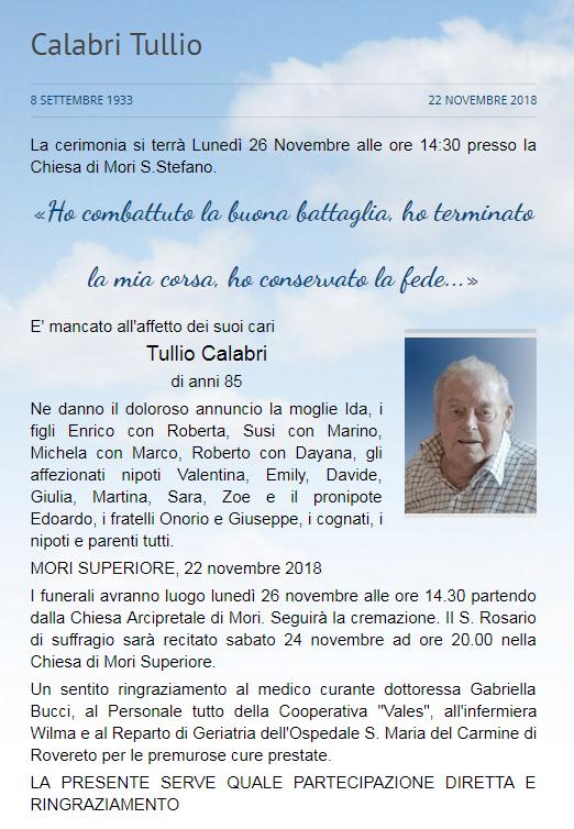 Addio a Tullio Calabri, funerali lunedì 26 novembre alle 14.30 nella chiesa di Mori S. Stefano