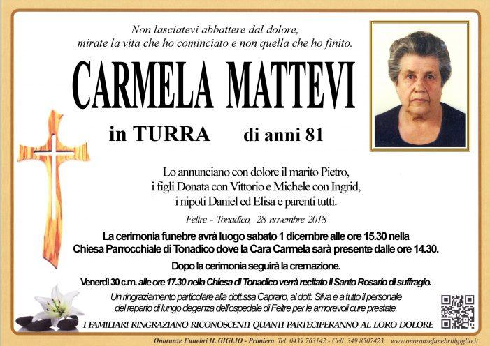 Addio a Carmela Mattevi in Turra, funerali sabato 1 dicembre alle 15.30 a Tonadico