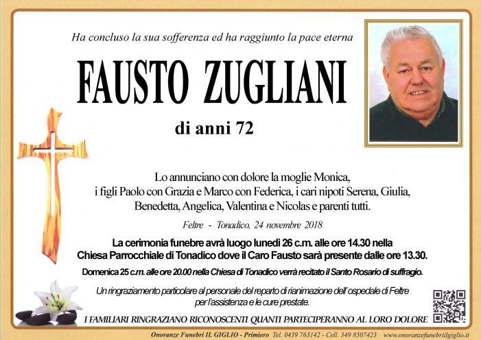 Addio a Fausto Zugliani, funerali lunedì 26 novembre alle 14.30 a Tonadico