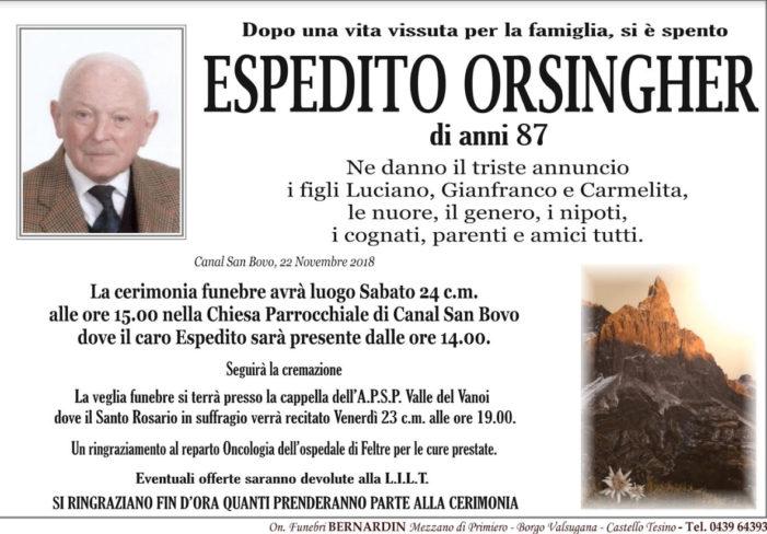 Addio ad Espedito Orsingher, funerali sabato 24 novembre alle 15 nella chiesa di Canal San Bovo