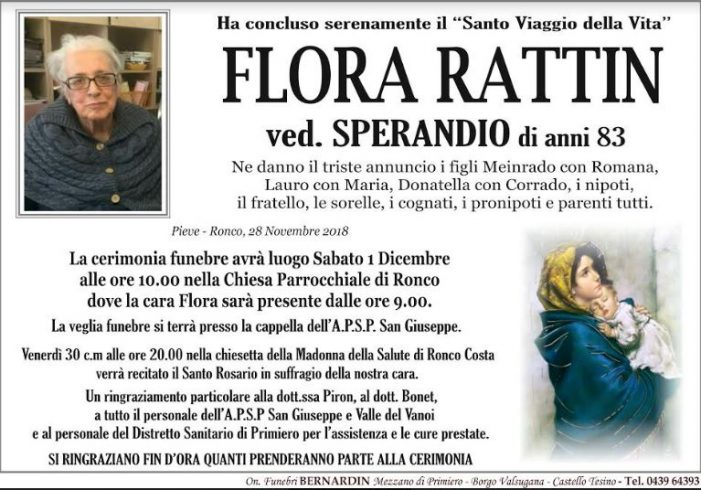 Addio a Flora Rattin vedova Sperandio, funerali sabato 1 dicembre alle 10 a Ronco