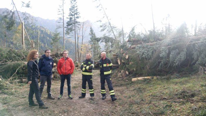 Maltempo in Trentino, sopralluogo del neo governatore trentino Maurizio Fugatti nel Primiero Vanoi