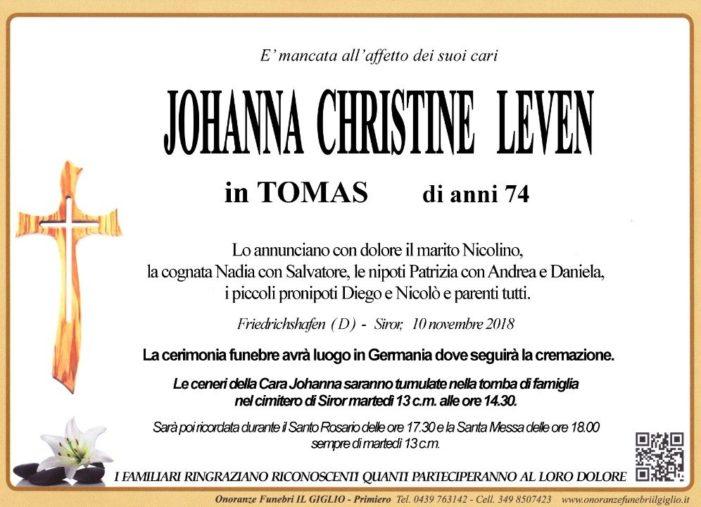 Addio a Johanna Christine leven in Tomas, funerali in Germania: la tumulazione nel cimitero di Siror martedì 13 novembre alle 14.30
